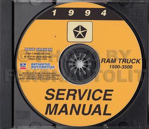 1994 dodge ram truck shop manual cd 1500 2500 3500 gas. Black Bedroom Furniture Sets. Home Design Ideas