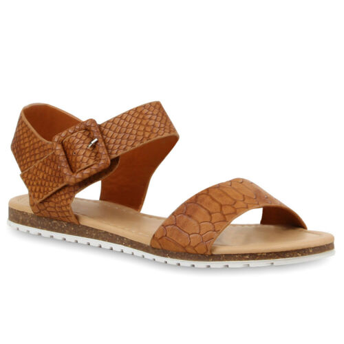 894873 Damen Komfort Sandalen Profilsohle Lederoptik Bequeme Schuhe Trendy