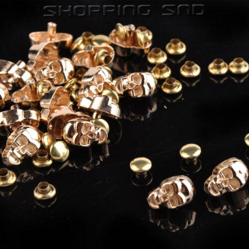 RUBYCA Metal Skull Head Rapid Rivets Silver Gold Leather craft Nailhead Spot DIY