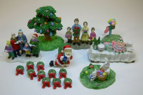 17 pc set lot Burns /& Conahan Christmas Easter Village Summer Accessories People