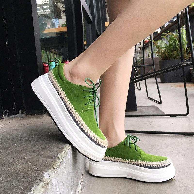 mujer Lace Lace Lace Up Fashion Leather zapatillas Round Toe Platform Oxfords Creepers botas  marca en liquidación de venta