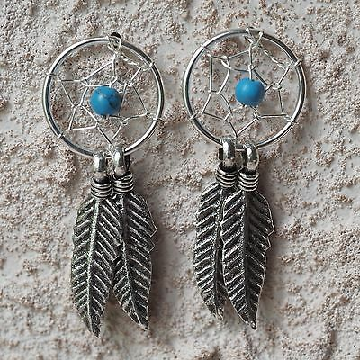 Neu 925 Silber Ohrstecker TraumfÄnger Perlen Türkis/blau Ohrringe Dreamcatcher