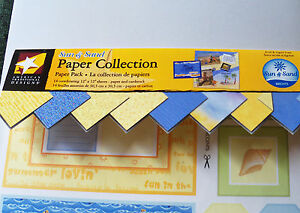 American-Traditional-Designs-12x12-Paper-Sheets-Sun-amp-Sand-Partial-Pack-New-NLA