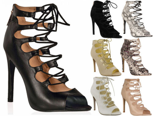 Mesdames Femmes Découpé Lacets Talon Haut Cheville Bretelles Gladiateur Sandales Chaussures Taille