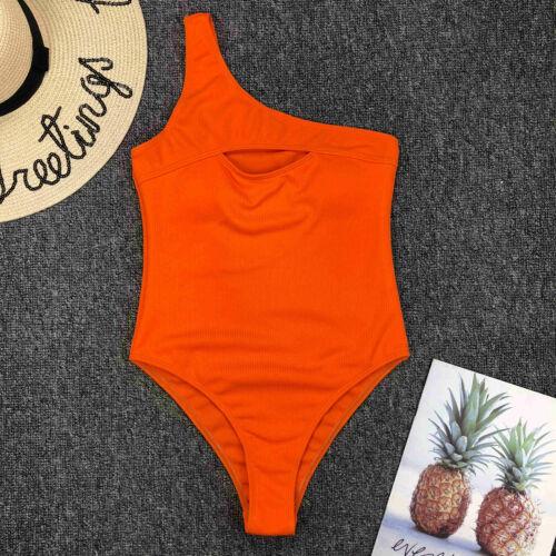 One Shoulder Swimsuit Women Swimwear Lace Monokini Padded Bathing Suit A5