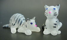 2 Tiny Glass CATS KITTENS Stripy Black & White Glass Animals Glass Ornaments