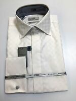 Steven Land Premium 2 Ply 100% Cotton Dress Shirt White Quality Modern Fit