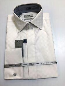 New-Steven-Land-Premium-2-Ply-100-Cotton-Dress-Shirt-White-Quality-Modern-Fit