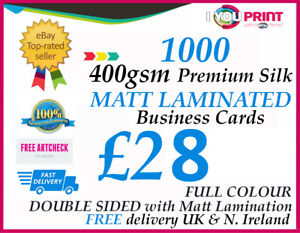 1000 matt laminated business cards 400gsm premium silk artboard image is loading 1000 matt laminated business cards 400gsm premium silk reheart Gallery