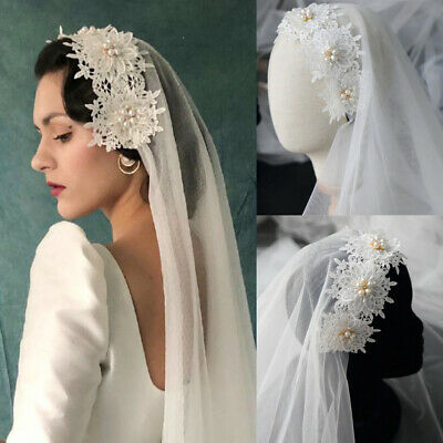 vintage wedding veils lace short pearls bridal veils white