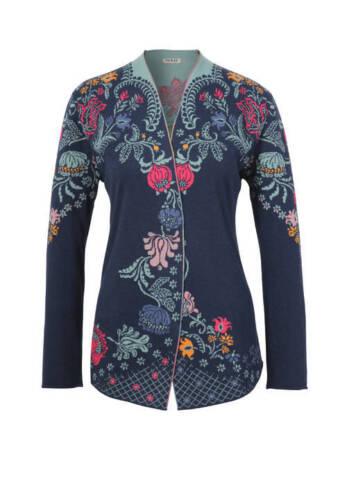 IVKO Cardigan Embroidery Intarsia Pattern Long-Jacket blau marine 81517