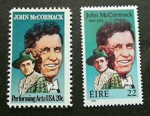 [SJ] USA Ireland Joint Issue John McCormack 1984 Performing Art (stamp pair) MNH