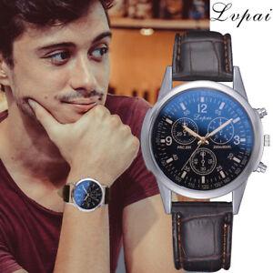 LVPAI-Herren-Laessig-Mode-Uhren-Luxus-Leder-Armband-Quarz-Uhr-Analog-ArmbanduhrDE