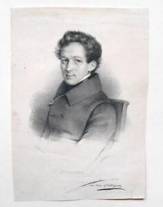 Lithografie-Originell-Portraet-von-Jules-cloquet-j-Delpech-circa-1830