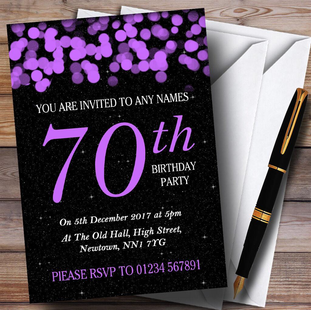 Violet 70th bokeh & stars 70th Violet personnalisé fête d'anniversaire invitations d2732b