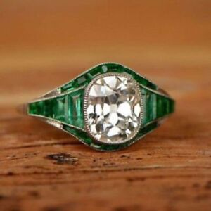 Details About 3 35ct White Cushion Cut Diamond And Emerald Art Deco Engagement Ring 925 Silver
