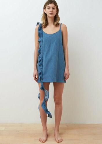 COLLINA STRADA blue denim Slacker mini dress sz XS