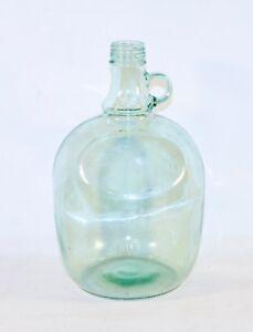 Details About Vintage Green Gl Wine Jug Bottle Vase Decorative 3 Liters Round Flat Front