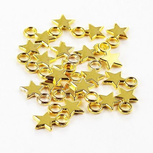 50 x Plaqué Or Solide Star Charms