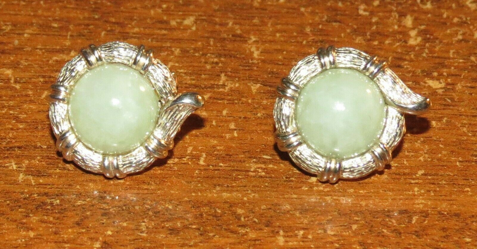 Light Green Jade & Sterling Earrings EXC