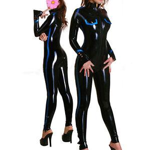 Black-Latex-Women-Catsuit-Front-Zipper-Sexy-Club-Wear-Costumes-Customize-Service