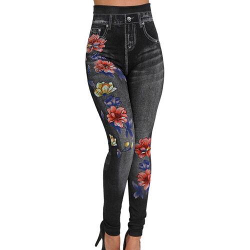 Women Leggings Pants High Waist Rhinestone Rose Print Trouser Stretchy Pencil