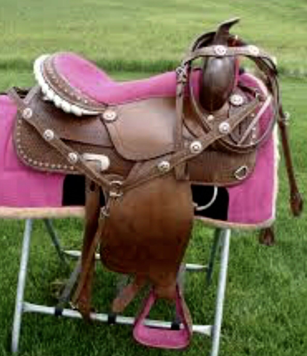 "15"" Pink Bling Medium Dark Oil Western Adult Trail Barrel Racer Saddle 4pc SET"