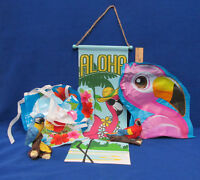Tiki Bar Tropical Party Decorations Parrots Banner Pennant Blow Up Bird Lot Of 5