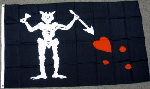 EDWARD TEACH PIRATE FLAG 3X5 FEET BLACK BEARD SPEAR HEART JOLLY ROGER NEW F545