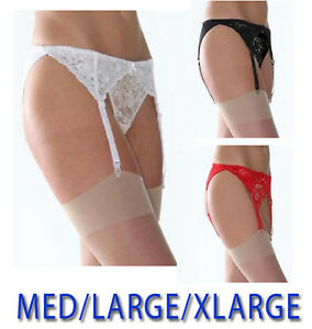 Suspender Belt And Stockings Wide Lace Silky Black White Red Colors Sizes M-XL