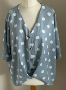 Primark-Size-14-Ladies-Blue-Top-With-White-Spot-Print-BNWT