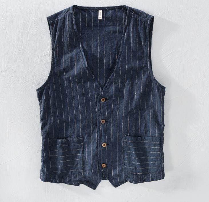 Men's Vintage Waistcoat Stripe Button Leisure Linen Cotton Blend Vest Summer L46