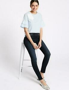 100% QualitäT Marks Spencer M&s Per Una Womens Embellished Roma Rise Skinny Blue Jeans 24 Reg SchnäPpchenverkauf Zum Jahresende