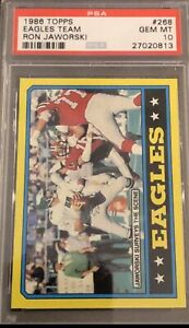 1986 Topps Football #268 Eagles Team Ron Jaworski PSA 10 Gem Mint...Low POP 8