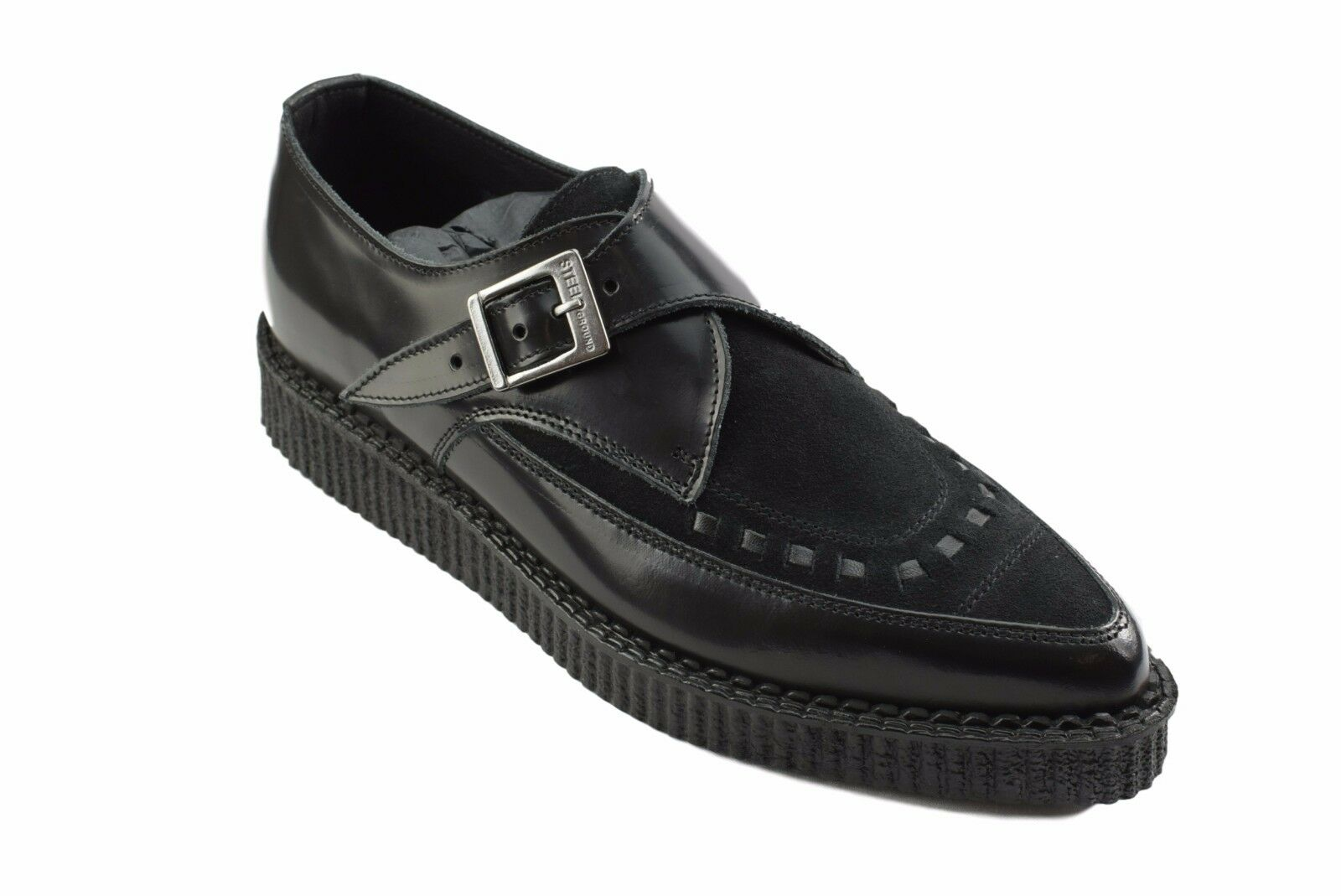 Steel Ground Schuhes schwarz Leder Suede Point Creepers Monk Buckle Pointed