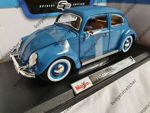 Nuevo-1-18-Maisto-escala-1955-VOLKSWAGEN-BEETLE-KAFER-Azul-Diecast-Modelo-Coche
