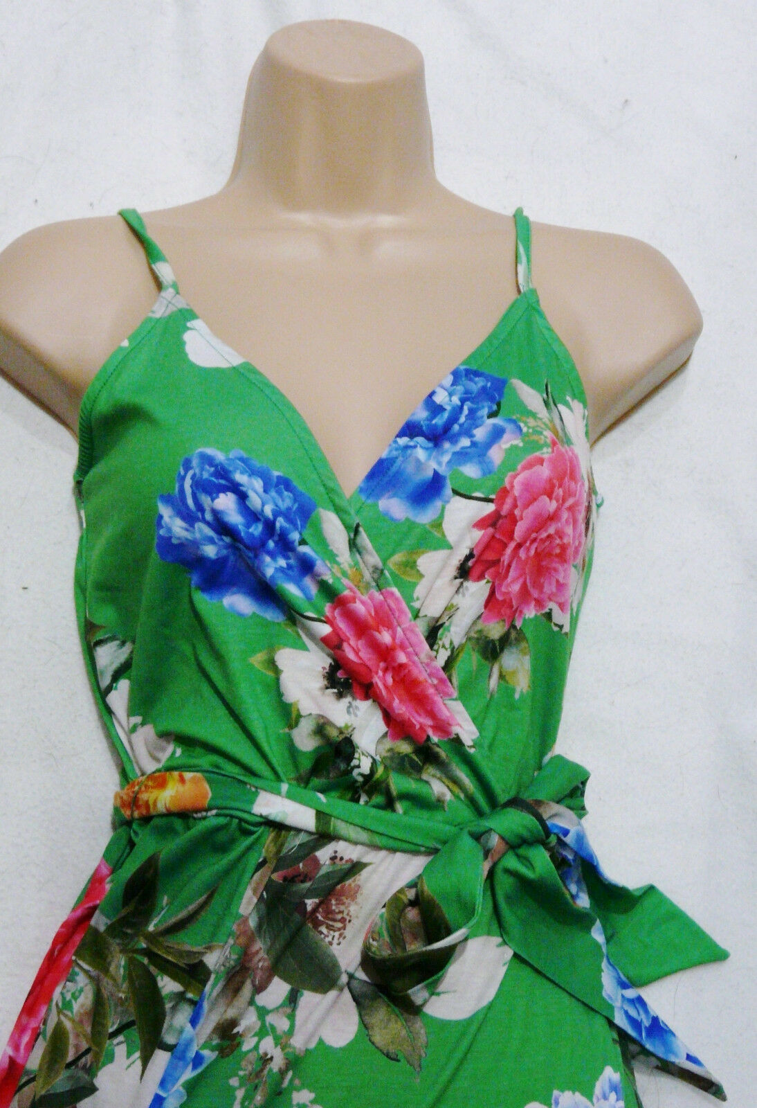 LIPSY jersey summer bright green floral print  Cami Wrap Jumpsuit 6 8 10 16