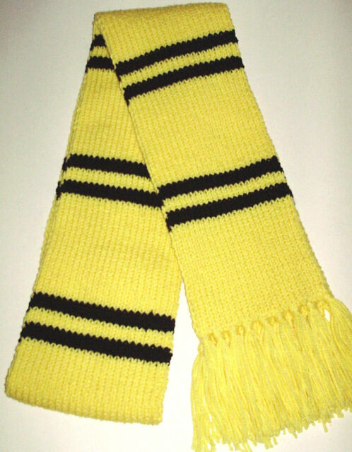 Hand Knit Harry Potter Hufflepuff Type School Colors Scarf Yellow