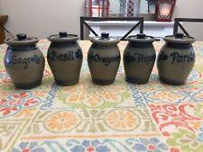 1992 Rowe Pottery Works Salt Glazed Glass Set Of 5 Spice Jars Sage Basil Thyme