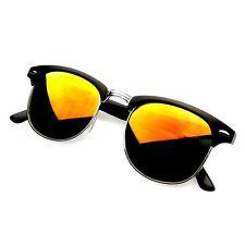 Retro Fashion Half Frame Flash Mirror Lens Club Master Sunglasses