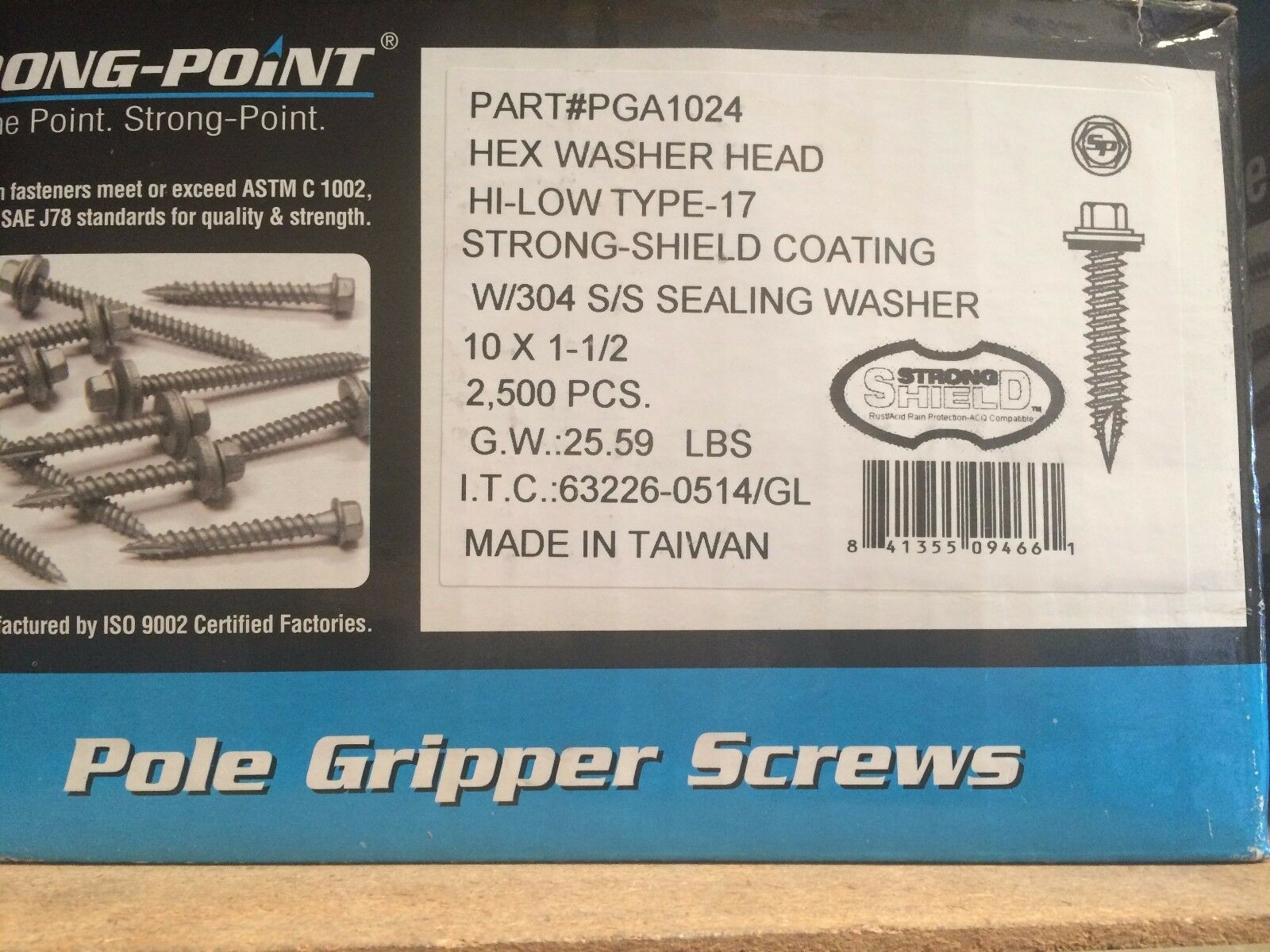 (2,500) INTERCORP PGA1024  10 X 1-1/2 Rubber Washer Pole Gripper Roofing Screws