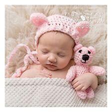 bonnet teddy bear hat with matching teddy pink newborn Photo prop
