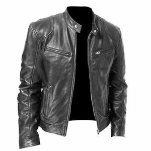 Men-039-s-Biker-Vintage-Motorcycle-Distressed-Black-Faded-Genuine-Leather-Jacket