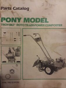 Details About Troy Bilt Pony Roto Tiller Compost Tractor Parts Catalog Manual Garden Way 1982