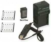 2 Two Batteries + Charger For Olympus Fe-350 Fe-360 Fe-3000 Fe-3010 Fe-4000