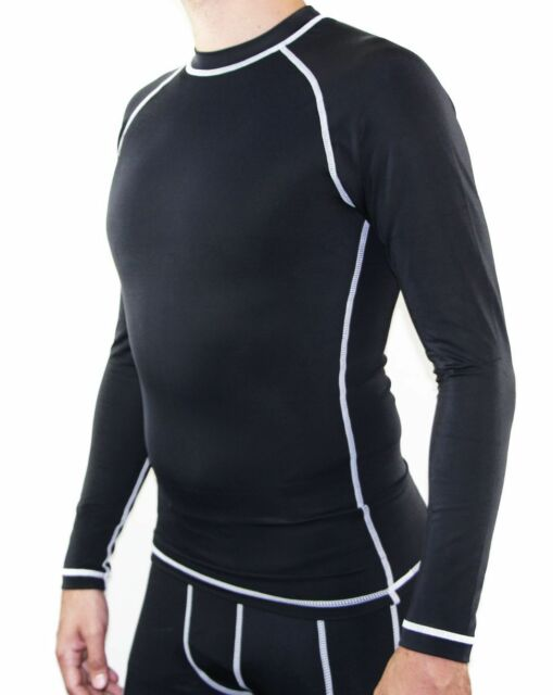 MENS BLACK COMPRESSION LONG SLEEVE TOP GYM RUNNING FITNESS SPORTS TRAINING SPORT