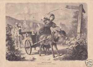Maedchen-mit-Eselskarren-schoener-HOLZSTICH-von-1872