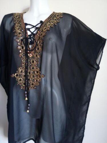 NEW TUNIC SEQUIN TUNIC GOLD TOPS COVER UP PONCHO BLOUSES SWIMWEAR TOPS T-SHIRT