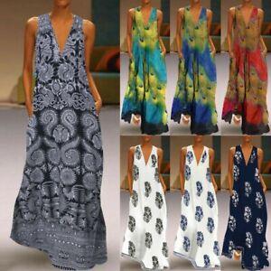Women-Sleeveless-Peacock-Print-Long-Maxi-Dress-Bohemia-Summer-Beach-Shirt-Dress