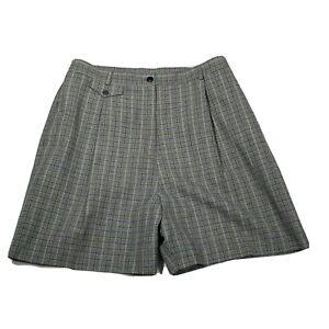 Bette-amp-Court-Women-039-s-Vintage-Shorts-Sz-12-Gray-Plaid-Stretchy-High-Rise